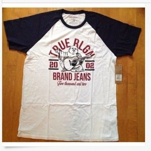 True Religion Raglan Crew Graphic Varsity T-Shirt